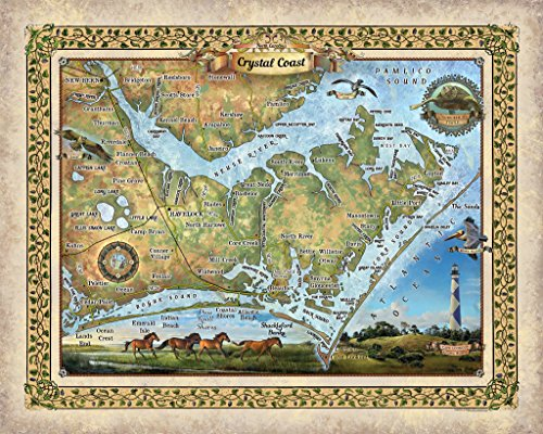 Crystal Coast  North Carolina  Beaufort Nc Map  Nc Beaufort Map  Map Nc Beaufort  Crystal Coast  North Carolina Vintage Map  Vintage Map Art  24X30  Fine Art Print  Crystal Coast Nc 3