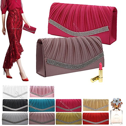 Bridal Handbag Crystal Wocharm Prom Red Bag Studded Satin Clutch Wedding Evening Womens Pleated Party 8xxqXwCfS