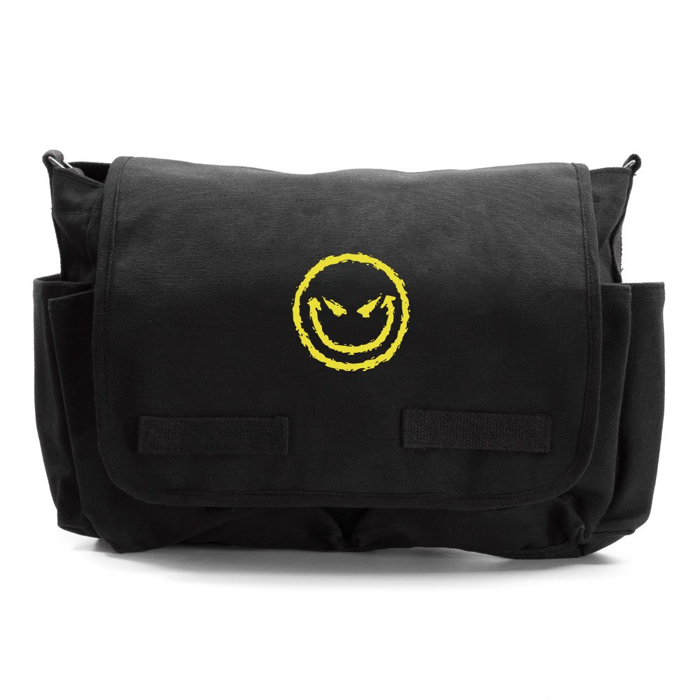 Evil Smiley Face Army Heavyweight Canvas Messenger Shoulder Bag Black /& White