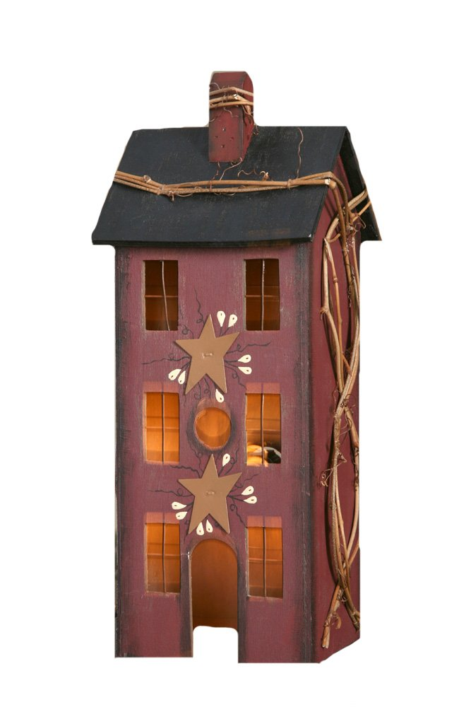 Your Heart's Delight Primitive Home Electric Light, 5 by 13 by 4-Inch, Large, Burgundy