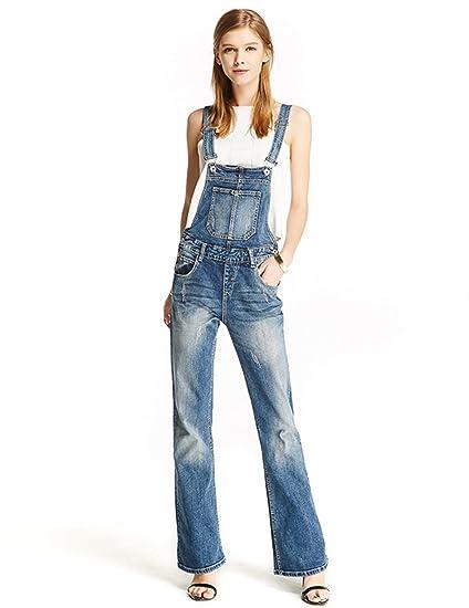 150aea0de9c ZLSLZ Womens Retro Ripped Long Work Bib Overalls Denim Flared Jeans  Jumpsuits Blue S Tag M