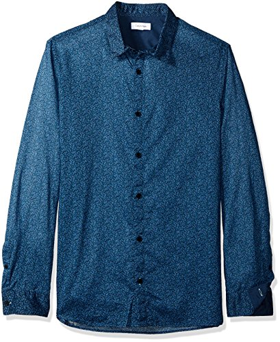Calvin Klein Men's Long Sleeve Button Down Shirt Printed Floral