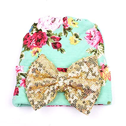 f76c12d8310 wintefei Newborn Baby Infant Girl Toddler Bowknot Hospital Cap Cotton  Floral Beanie Hat - Gold Bowknot  Amazon.in  Baby