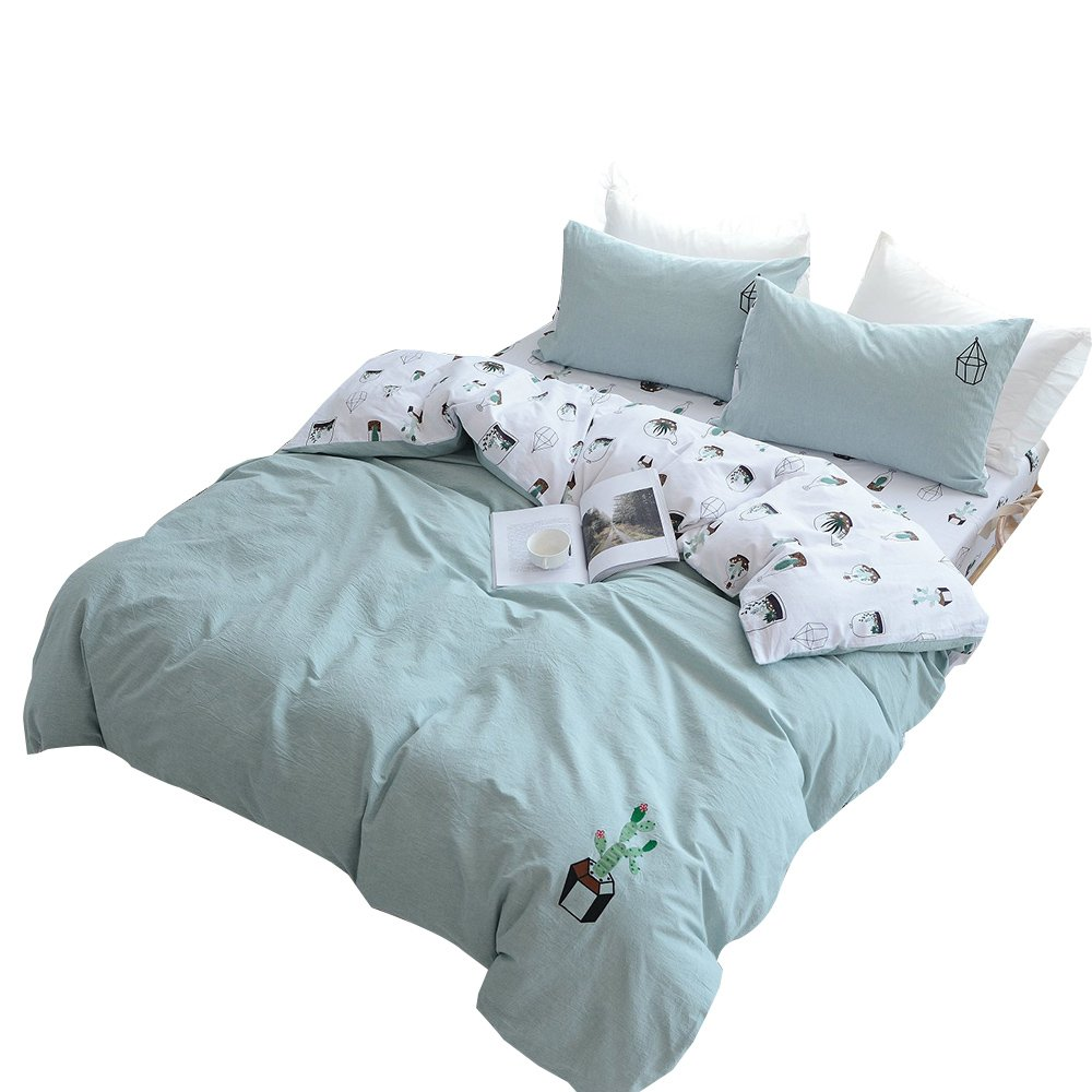 OTOB Cotton Cactus Twin Duvet Cover Set for Girls Adults Reversible Teen Bedding Sets Twin Size with 2 Pillow Sham(Twin, Style 1) OR22090-DT1