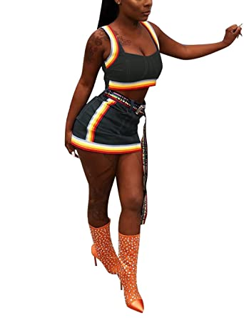 f8410c52c741 Women's Denim Two Piece Outfits Rainbow Striped Sleeveless Crop Top and Mini  Skirt Set Black S