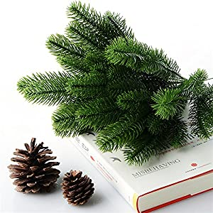 Nyalex 10Pcs Artificial Flower Fake Green Plants Pine Branches Christmas Tree For Christmas Party Decorations Xmas Tree Ornaments 3
