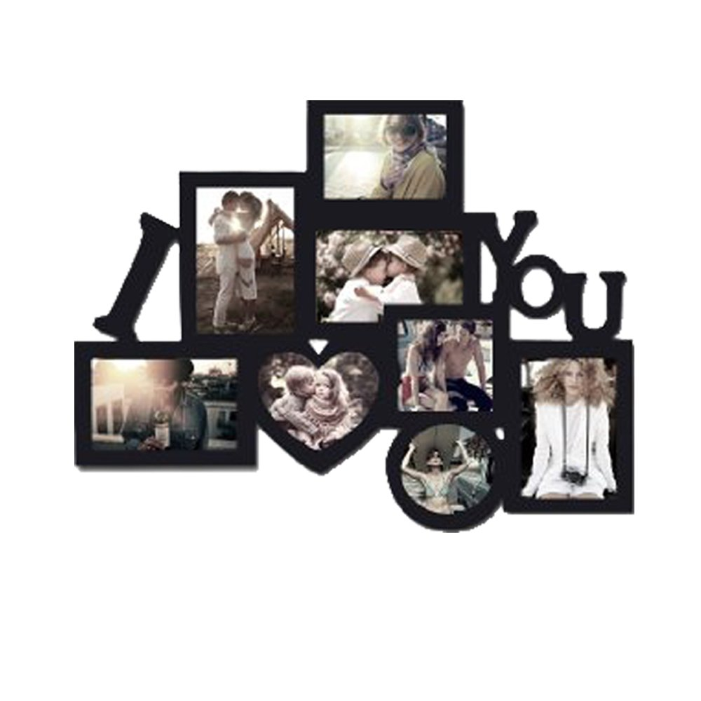 Decor Hut I Love You Picture frame Puzzle Collage Frame, Holds 8 Photos, Easy to Hang, Black Nice Finish! Memory Keepsake! DH001-42
