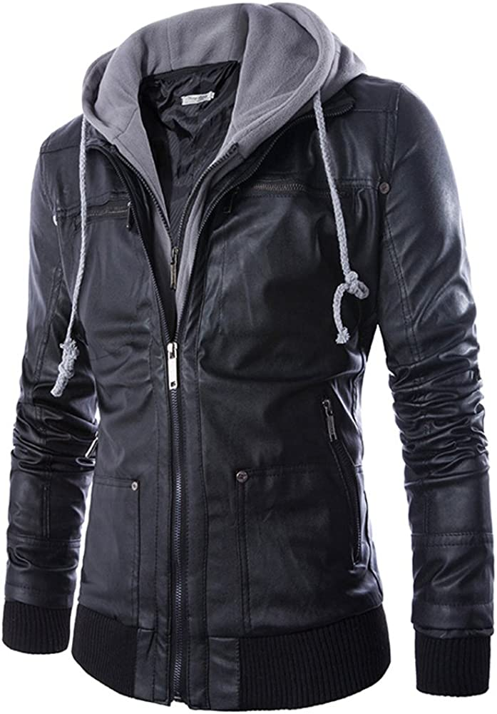 LIYT-AW Mens Slim-Fit Hooded Locomotive PU Leather Jacket Coat