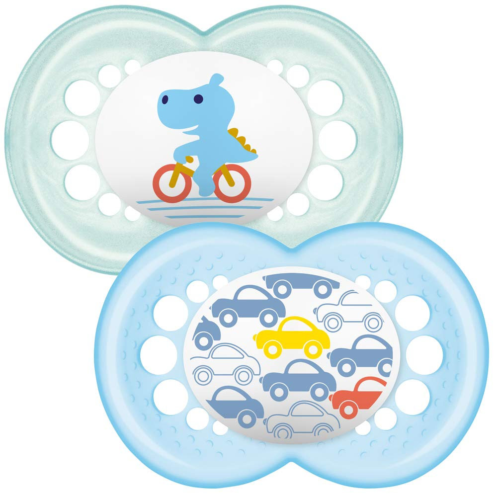 MAM Night Glow in The Dark Soother Suitable 12 Months with Sterilisable Travel Case Pack of 2 Designs May Vary Blue