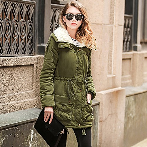 Abrigo de mujeres invierno de chaqueta piel capucha de las abrigo con Khaki invierno de cálido de lana sintética de drdPq6Twx