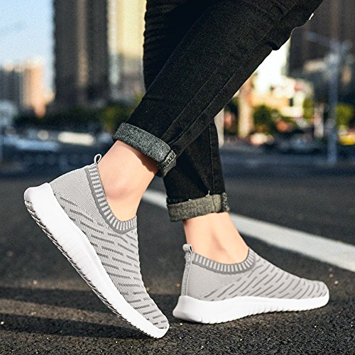 Athletic KONHILL Black 's gris Walking Slip US Mesh Women 2108 Breathable Running L Casual Shoes Lightweight Tenis5 On g4qgwr