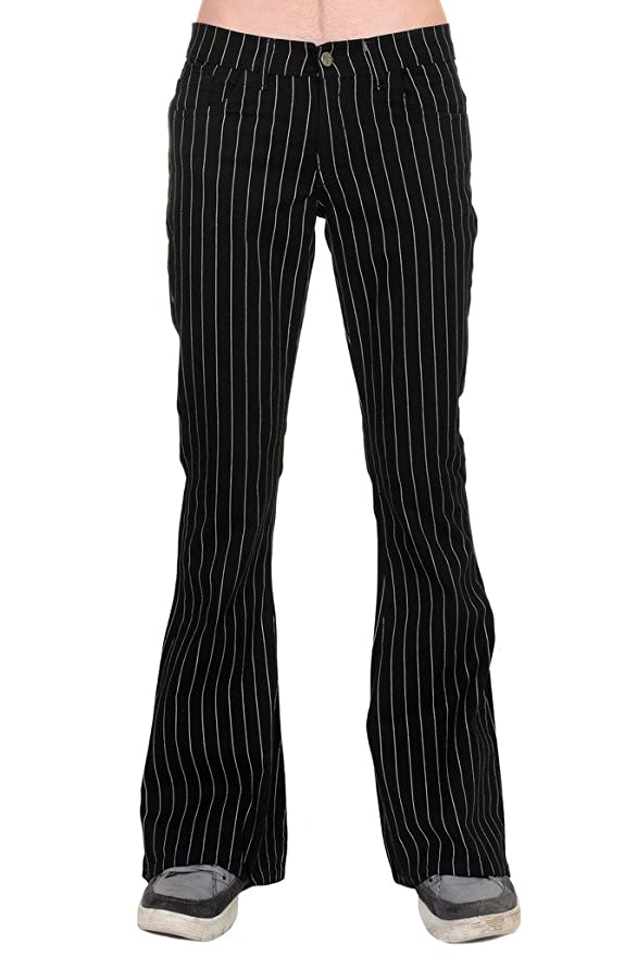 Retro Clothing for Men | Vintage Men's Fashion Mens 60s 70s Retro Vintage Black White Pin Striped Stretch Bellbottom Super Flares $49.95 AT vintagedancer.com