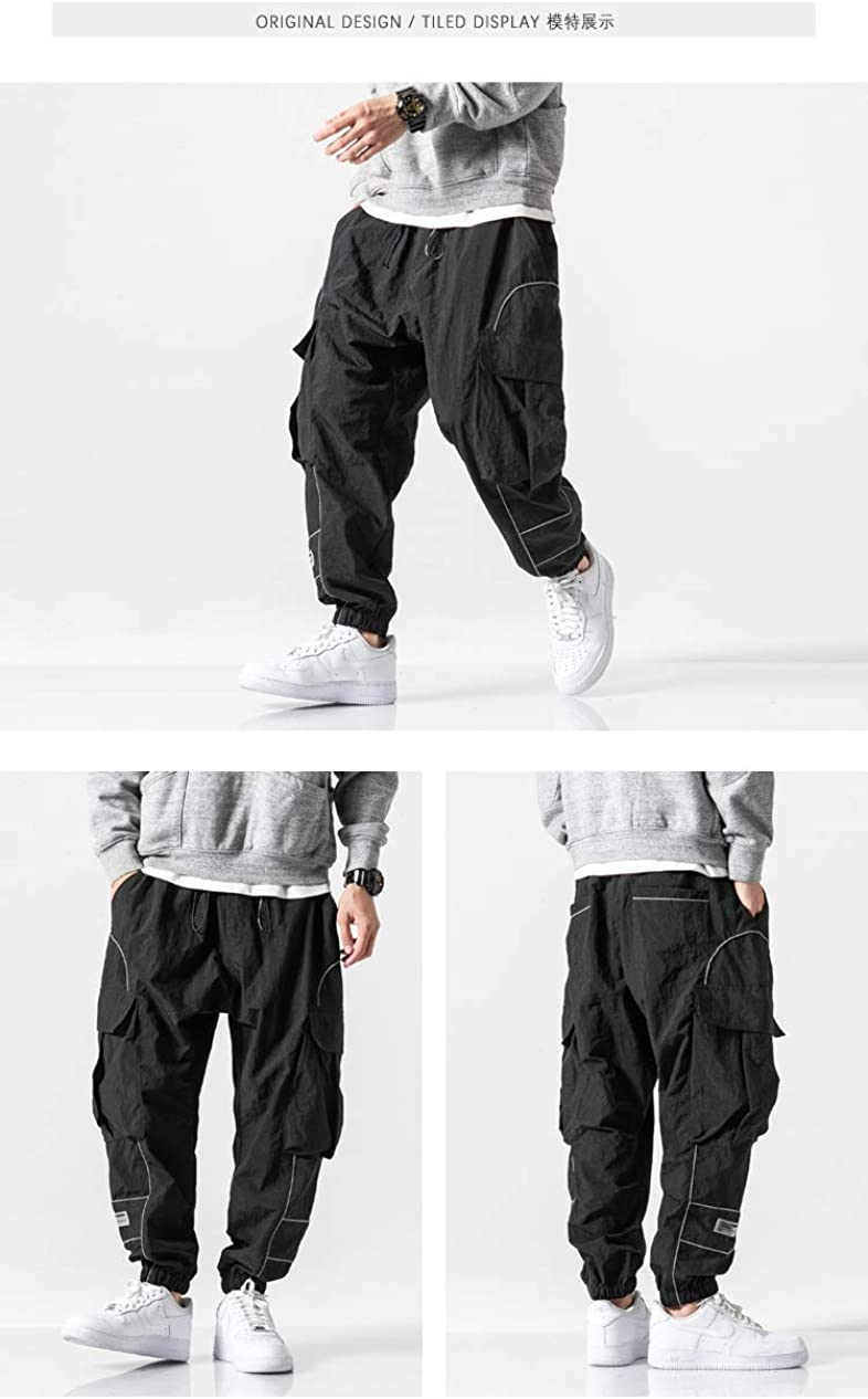 MOKEWEN Mens Techwear Buckle Straps Ankle Casual Jogger Cargo Pants with Pocket