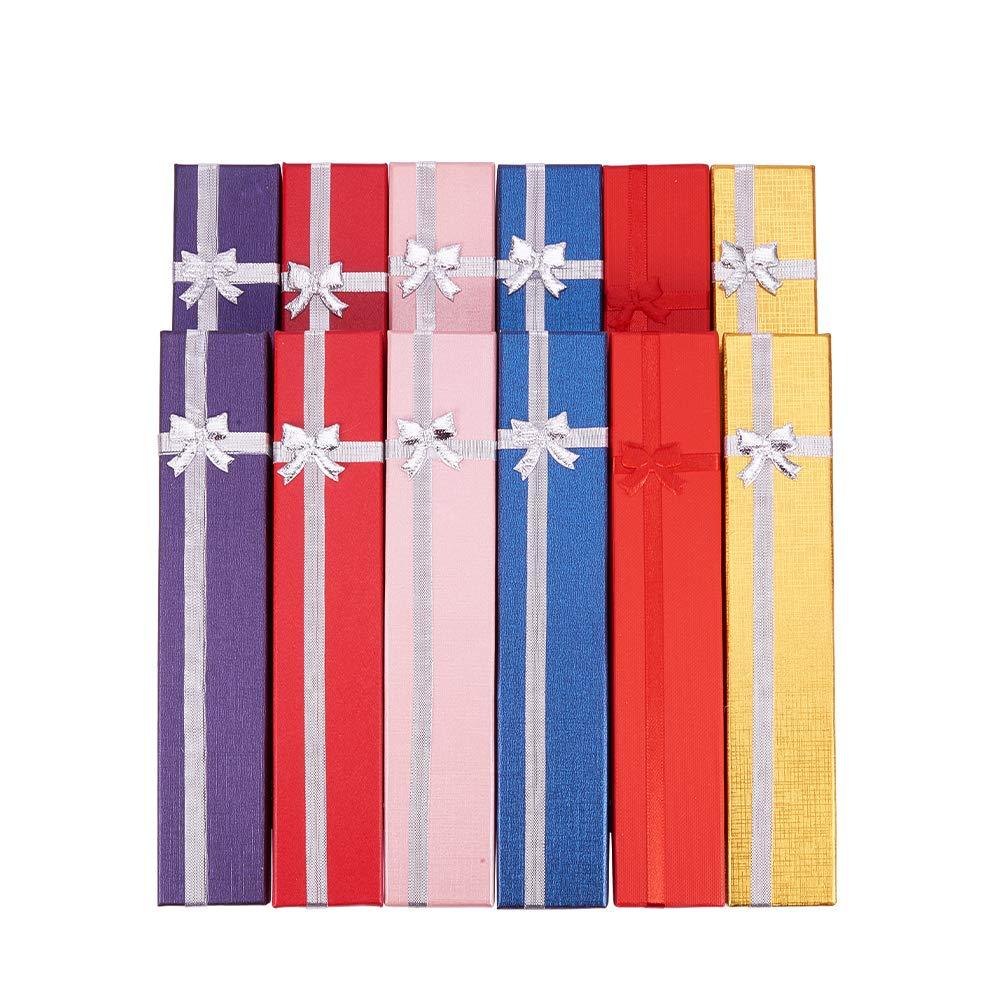 BENECREAT Confezione regalo da 12 paia di anelli con inserto in schiuma e velluto Piccola confezione da regalo rigida per gioielli con orecchini ad anello, argento e nero - 2 x 2 x 1,2 pollici