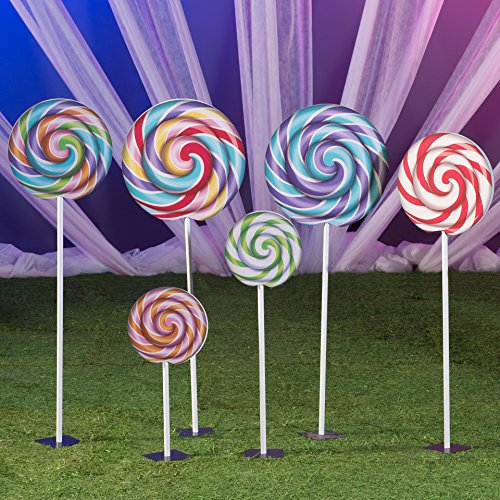 4 ft. 10 in. to 1 ft. 7 in. Sugar Rush Swirl Lollipop Props Standup Photo Booth Prop Background Backdrop Party Decoration Decor Scene Setter Cardboard Cutout]()