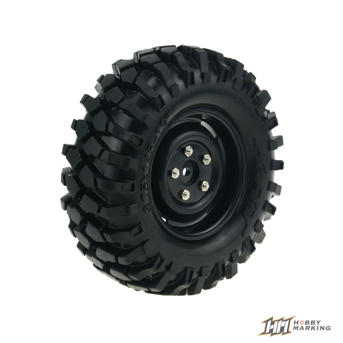 HobbyMarking 4Pcs RC 1//10 Car 1.9 Inch Plastic Wheel Hub and 96mm Tires Set for RC Crawler Axial SCX10 D90 RC4WD TAMIYA CC01