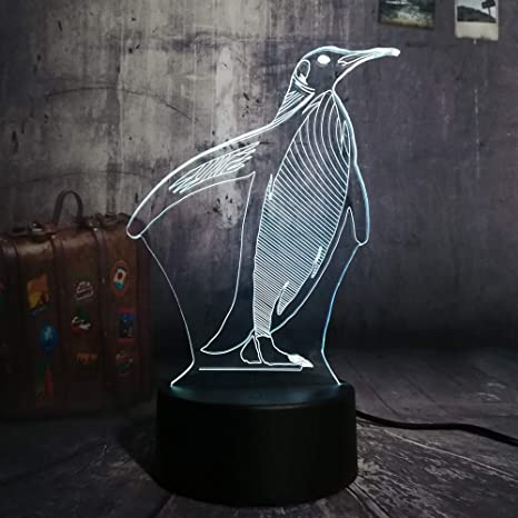 Luz de noche LED 3D Cute Penguin 7 cambio de color mesa de ...