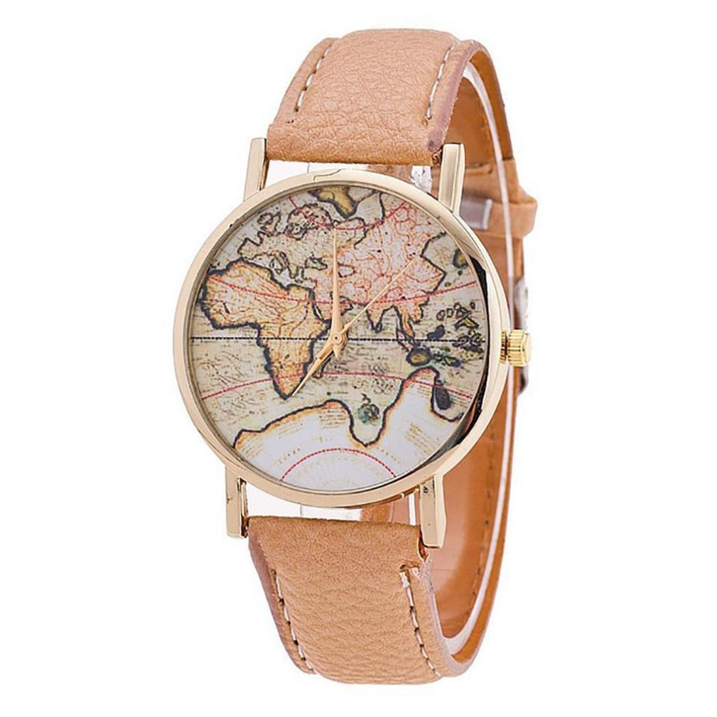 レディース用腕時計、jushyeレディース腕時計ファッションレディース世界マップレザーストラップアナログクオーツ腕時計 マルチカラー  ベージュ B076SYTYKS