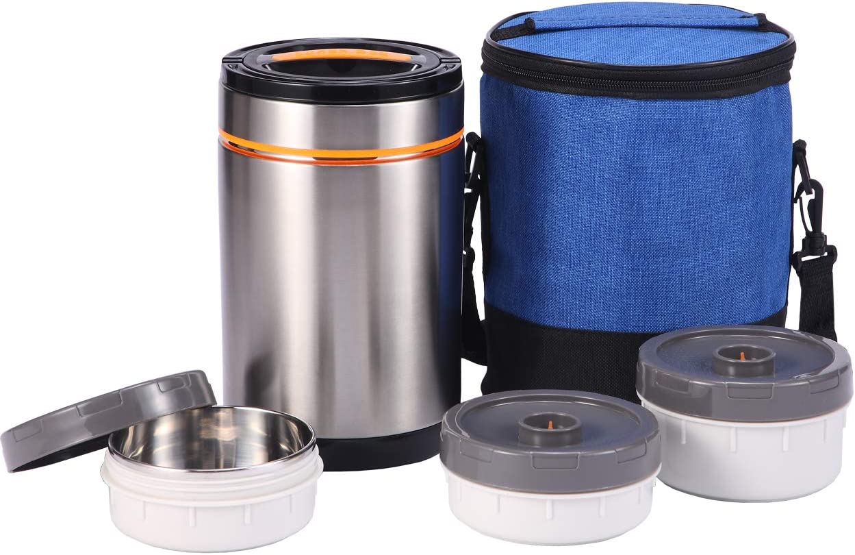 Sumerflos Vacuum Insulated Lunch Jar - 18/8 Stainless Steel Lunch Bento Box with 3 Compartments Leak Proof Food Container - 39 Oz - with Portable Lid & Lunch Bag for Adults Office, School, and Camping