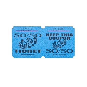 Amazon.Com : Blue 50/50 Raffle Tickets : Roll Of 1000 : Office