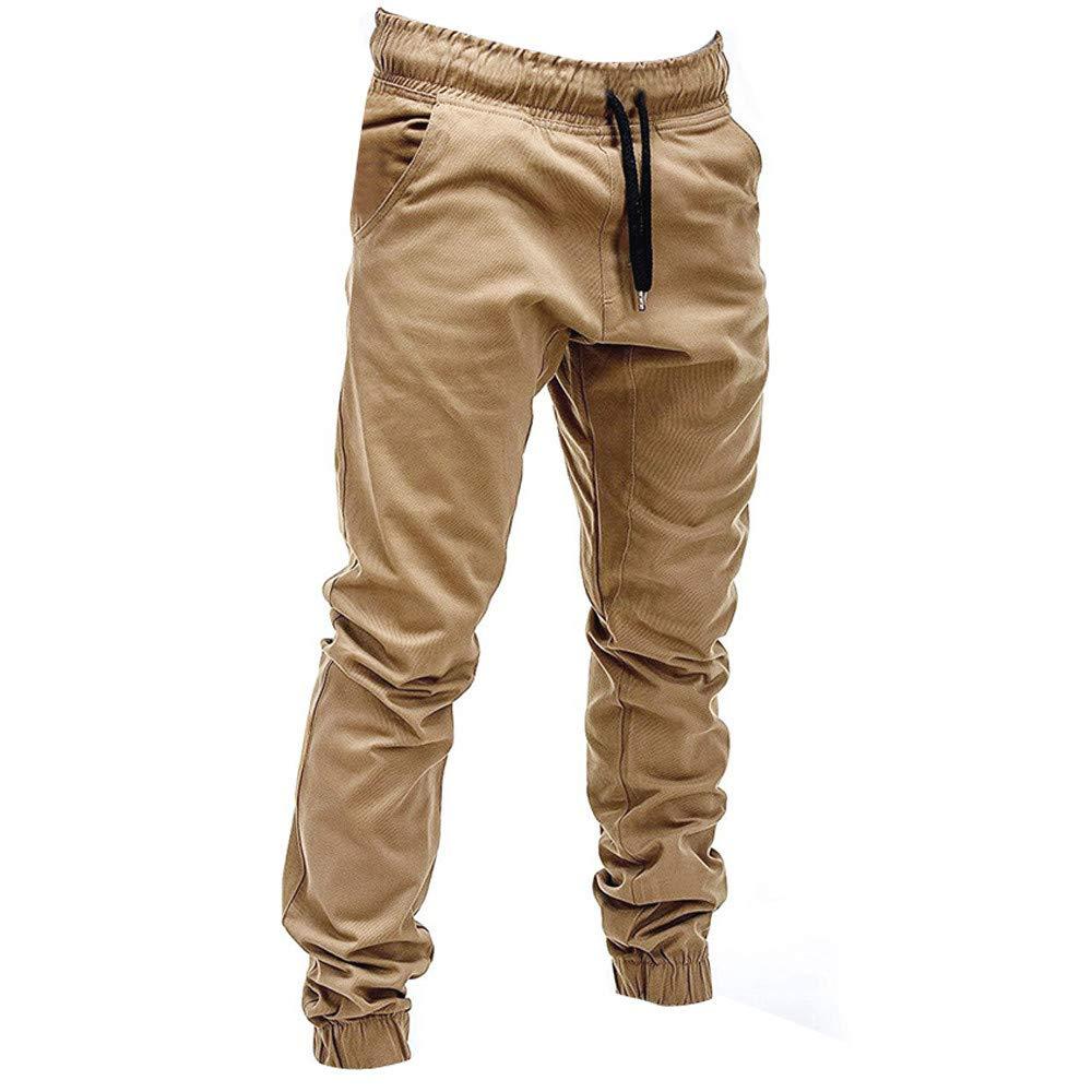 Mens Sweatpants Men/'s Casual Plain Drawstring Elastic Waist Sports Running Jogger Ankle-Length Cargo Pants Trouser