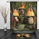 Vipsung Shower Curtain And Ground MatFarm House Mushroom Houses in Forest Fairy Tale Fantasy Wonderland Dwarf Kid Nursery Theme MultiShower Curtain Set with Bath Mats Rugs