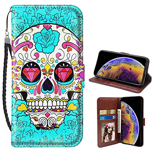 iPhone X/10/Xs Phone Wallet Case Sugar Skull TPU Leather Flip Cover with Card Slot Wallet Case for iPhone X/10/Xs