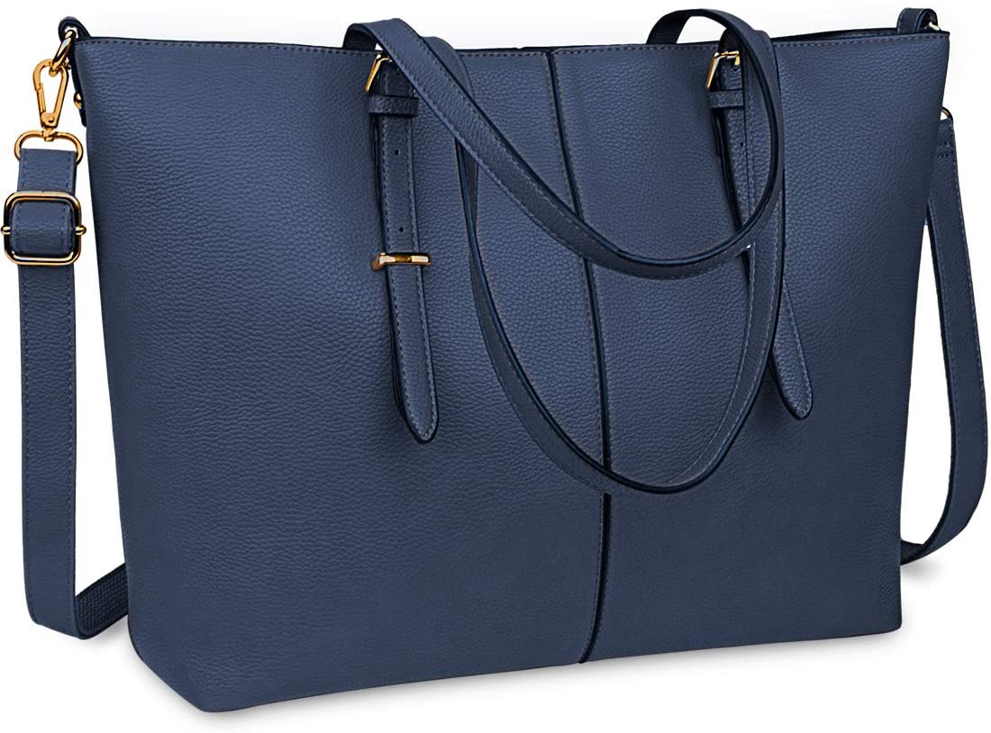 Laptop Tote Bag for Women 15.6 Inch Waterproof Lightweight Leather Computer Laptop Bag Women Business Office Work Bag Briefcase Large Travel Handbag Shoulder Bag Navy Blue
