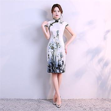 YAN Vestido de Mujer Vestido de Mujer Blanco Chino Vestido de Novia Cheongsam Largo Dragon Cocktail