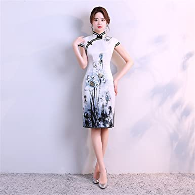 7db051bd09cca Women's Dress White Chinese Wedding Dress Cheongsam Long Dragon Cocktail  Party Wedding Evening Reception (Size