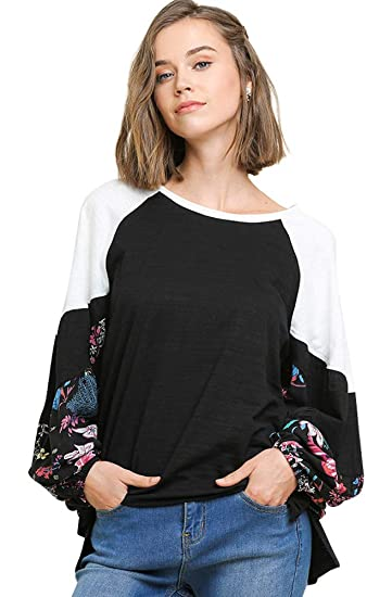 Clothing, Shoes & Jewelry Umgee Womens Floral Long Puff Sleeve Colorblock Top