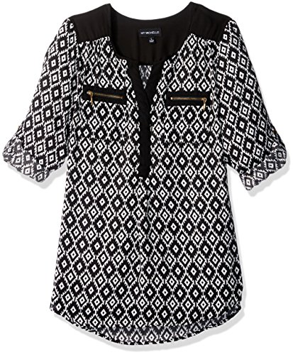 My Michelle Juniors Printed Equipment Top with Front Zipper Pockets and Roll Tab Sleeves, Black/Ivory, L (Clothes My Michelle)