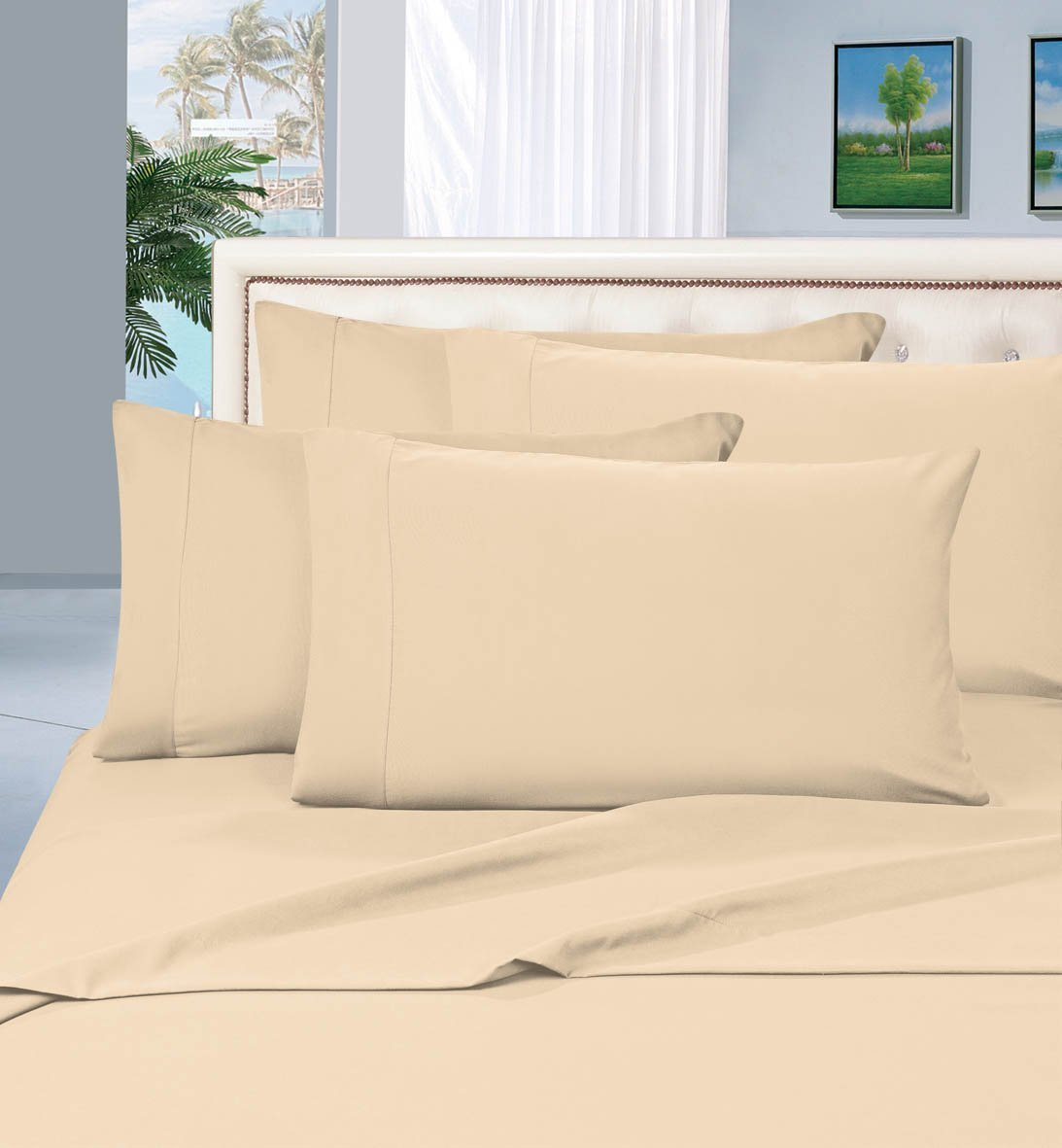 Elegant Comfort Luxurious Bed Sheets Set on Amazon 1500 Thread Count Wrinkle,Fade and Stain Resistant 3-Piece Bed Sheet Set, Deep Pocket, Hypoallergenic - Twin/Twin XL Cream