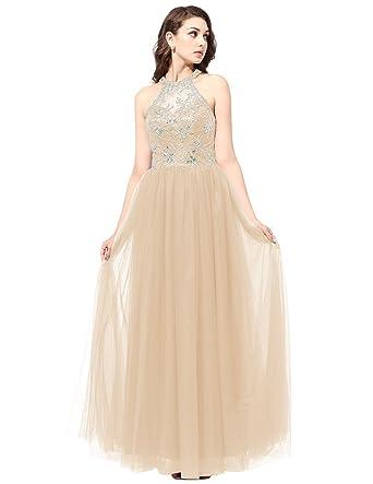 Dresstells reg; Long Tulle Halter Neck Prom Dress Full of Beading Evening Party Wear