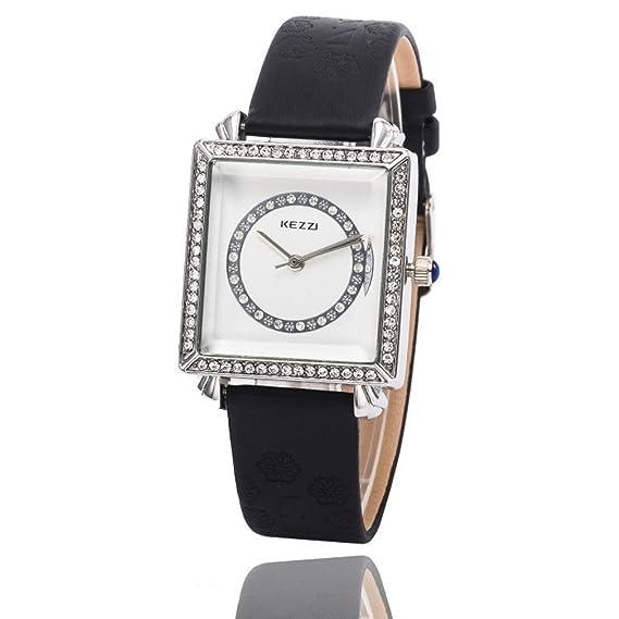 Kezzi Mujeres de la moda relojes K767 cuarzo cuadrado rectangular Dial reloj de pulsera