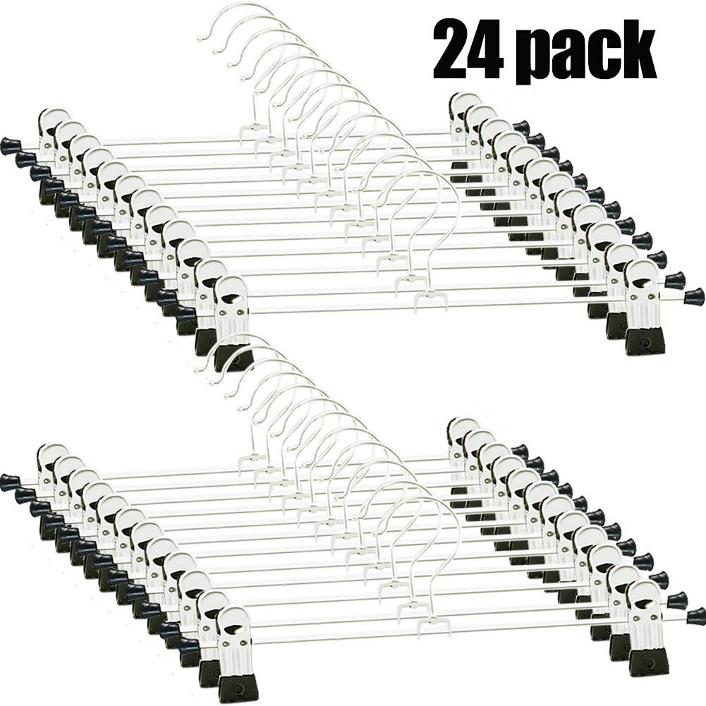 Pants Hangers - 24 PCS Skirt Hangers Pants Hanger with Clips Metal Pant Hangers Space Saving for Pants Skirts Clothes