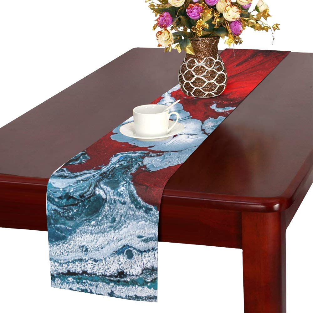 Jnseff Water Art Color Red Artist Abstract Ink Table Runner, Kitchen Dining Table Runner 16 X 72 Inch For Dinner Parties, Events, Decor
