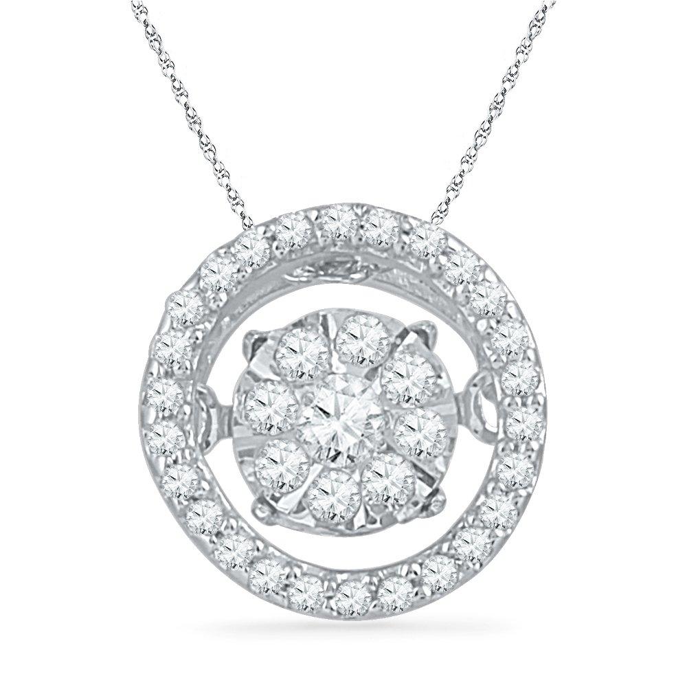 10KT White Gold Round Diamond in Motion Circle Pendant (1/6 cttw)