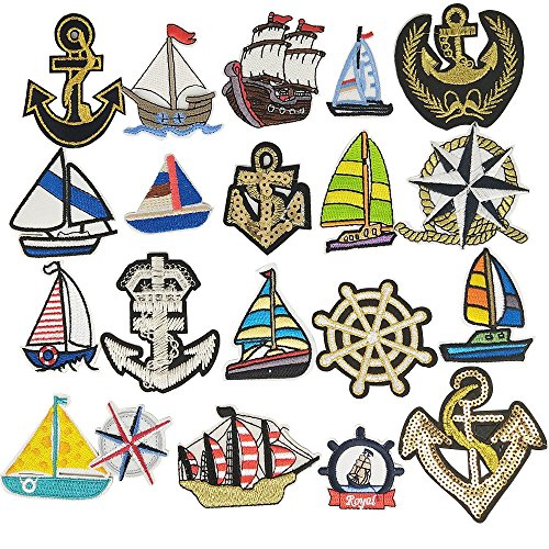 Libiline Kid Embroidered Patch Boat Anchor Rudder Sew On/Iron On Patch Applique Clothes Dress Plant Hat Jeans Sewing Flowers Applique DIY Accessory (Boat Anchor Rudder)