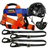 Fusion Climb Tactical Edition Kids Commercial Zip Line Kit Harness/Dual Lanyard/Trolley/Helmet Bundle FTK-K-HLLTH-05