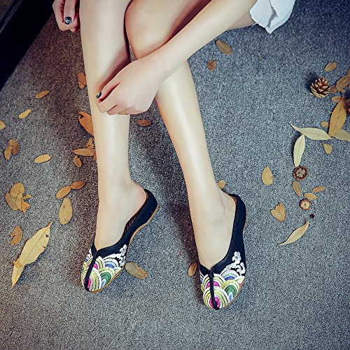 Low Print Household Black Womens Canvas Style Chinese Slippers Heel Wave Qhome Sandals WXFfZ6