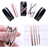 3 Pcs Nail Striping Tape Lines Set Rose Gold Matte Glitter 1mm 2mm 3mm Adhesive Stickers Nail Art DIY Styling Tool