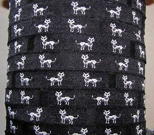 3 Yds Black White Kitty Cats Collar Woven Jacquard Ribbon 3/8