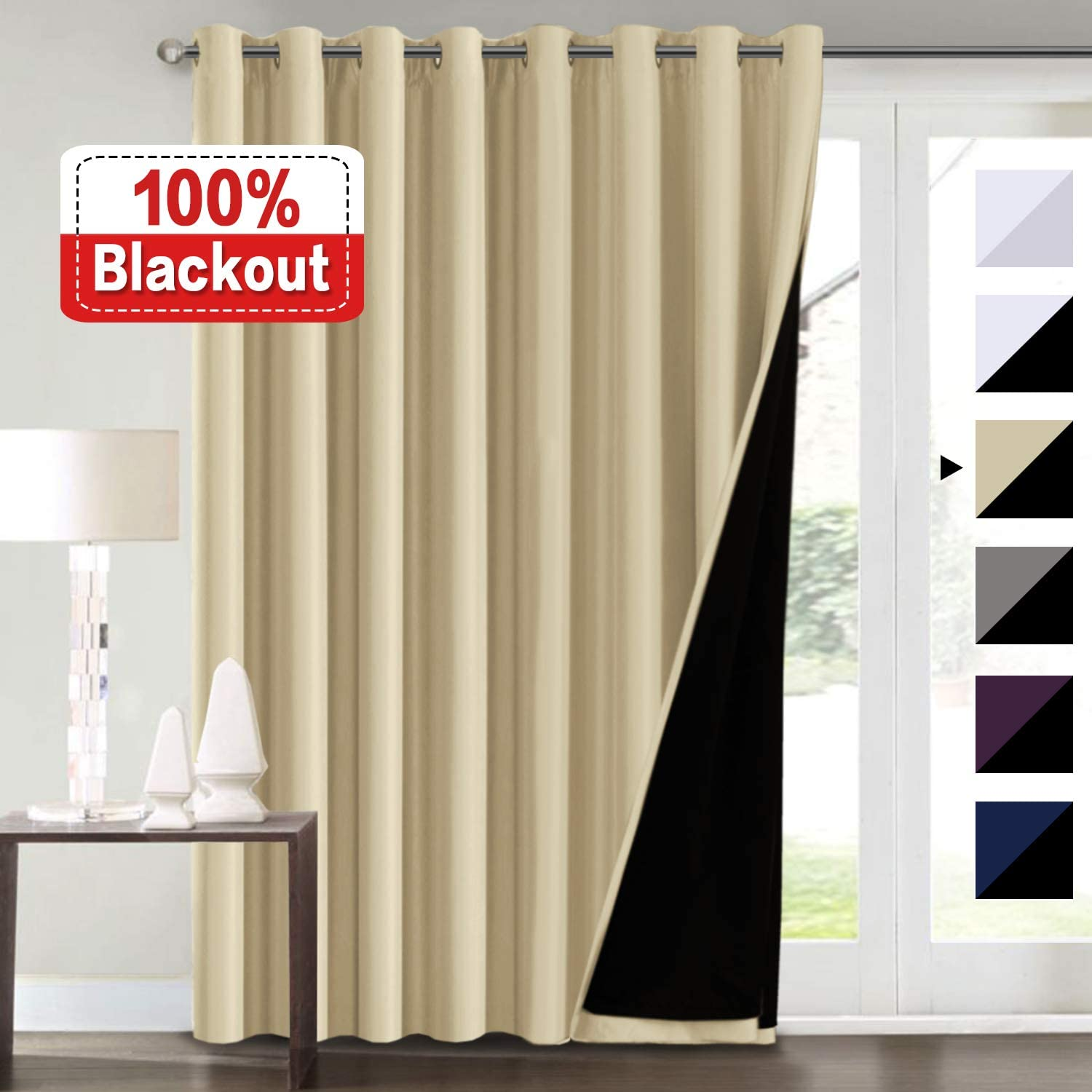 100% Blackout Curtains for Patio Sliding Door 100x96 Thermal Insulated & Energy Efficiency Draperies for Double Window, Extra Wide Blackout Curtains for Bedroom, Wheat