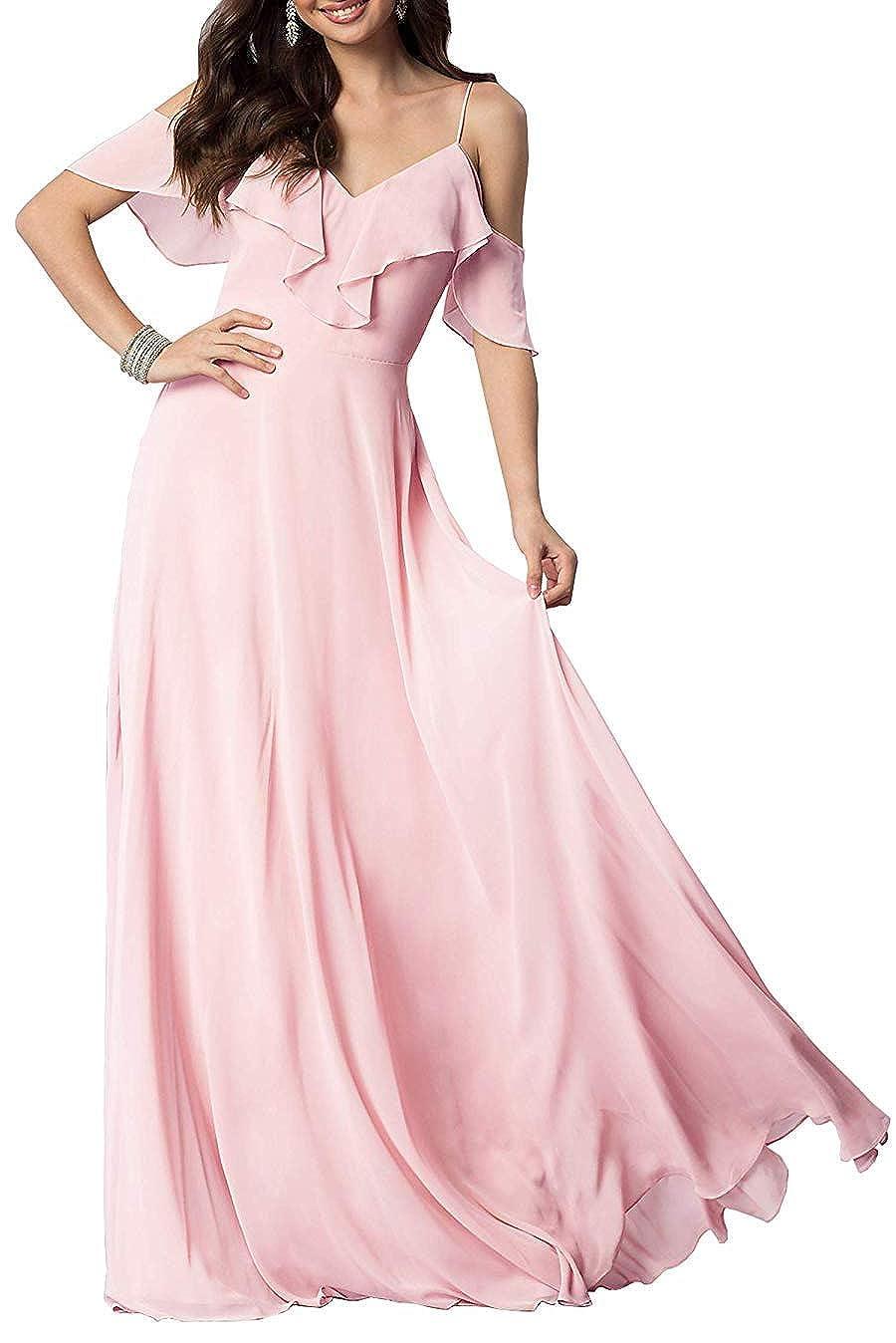 blueshA FeiYueXinXing VNeck Ruffled Spaghetti Strap Prom Dresses Long Formal Evening Gown