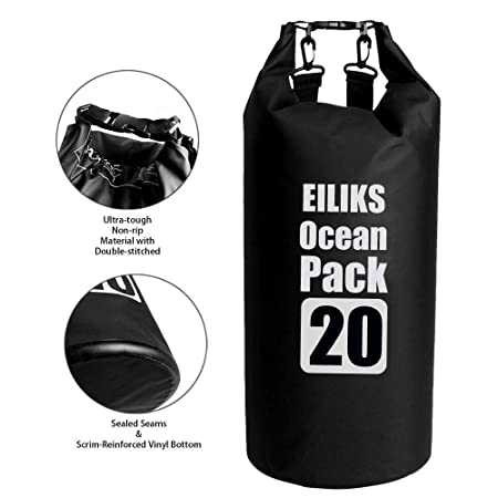 EILIKS Outdoor Floating Waterproof Dry Bag 20L, Roll Top Dry Compression Sack for Kayaking, Beach, Rafting, Boating, Hiking, Camping and Fishing (20L Dry Bag)