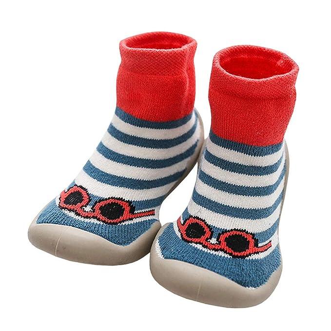 LPATTERN Calcetines Estampados Primeros Pasos con Suela de Goma Antideslizantes para Bebés Niños Zapatillas de Algodón