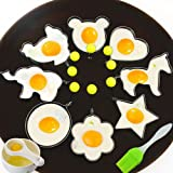 8pcs Fried Egg Molds Rings Egg Mcmuffin Maker Different Shapes Stainless Steel with 1pc Silicone Pastry Brush and Yolk White Seperator Kitchen Cooking Tools - Set of 10
