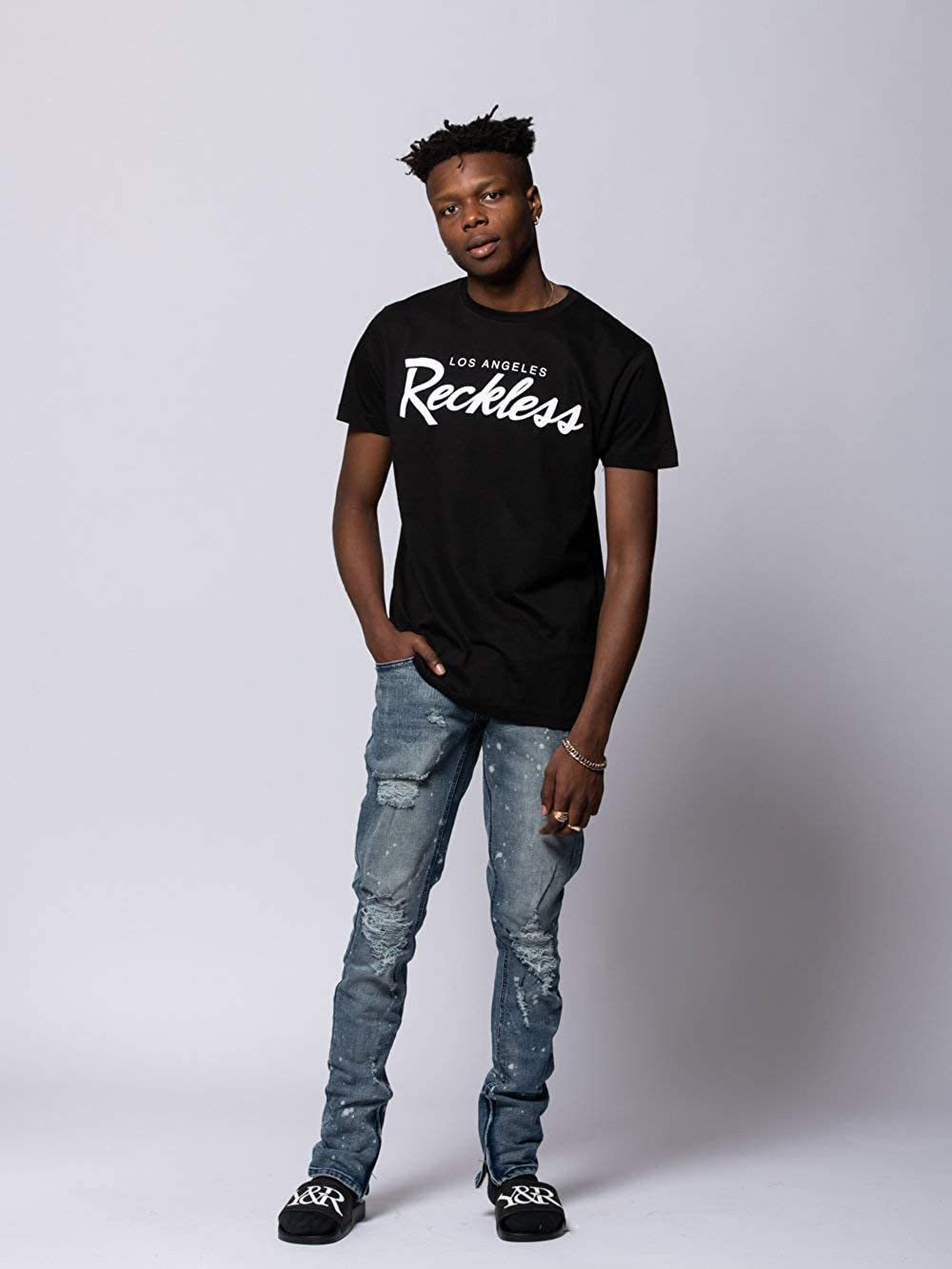 finest selection 4bb3a 9f86c Amazon.com  Young and Reckless - OG Reckless Tee - Black White - - Mens -  Tops - Graphic Tee -  Clothing