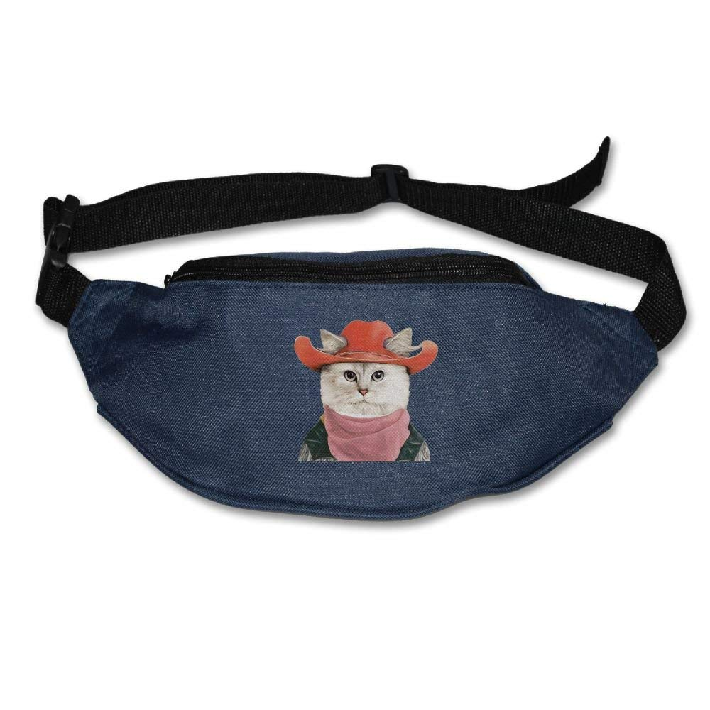 Waist Purse Cute Cat With Red Cap Unisex Outdoor Sports Pouch Fitness Runners Waist Bags